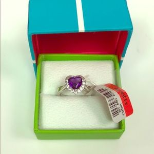 SS Amethyst & White Sapphire Heart Ring Size 7 NWT
